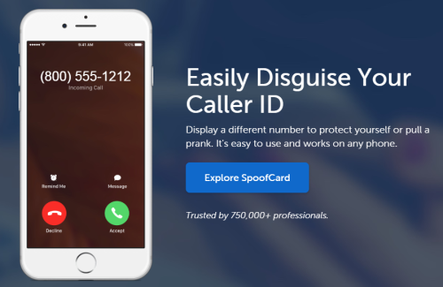 Caller ID shows a phone number you know with SpoofCard